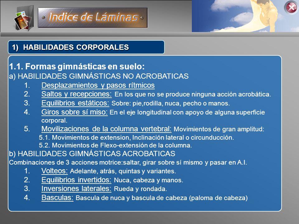 1.1. Formas gimnásticas en suelo: a) HABILIDADES GIMNÁSTICAS NO ACROBATICAS 1.Desplazamientos y pasos rítmicos 2.Saltos y recepciones: En los que no s