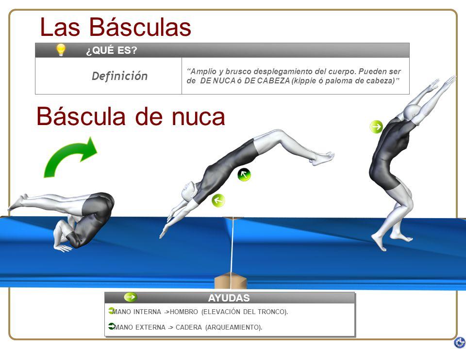 Amplio y brusco desplegamiento del cuerpo. Pueden ser de DE NUCA ó DE CABEZA (kippie ó paloma de cabeza) ¿QUÉ ES? Las Básculas Definición Báscula de n