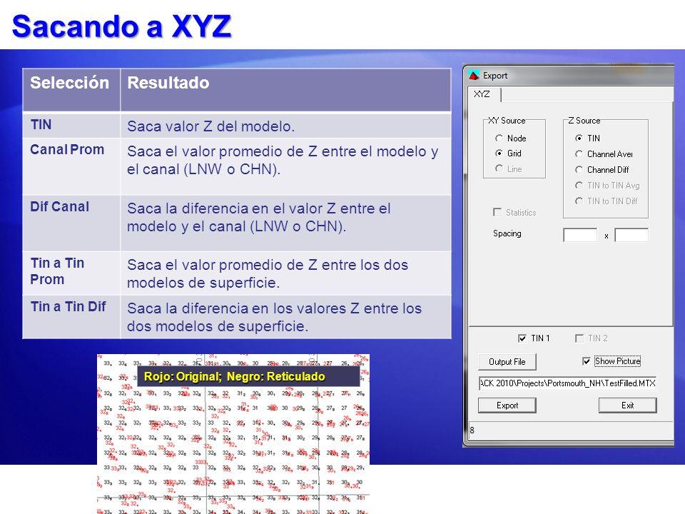 Sacando a XYZ Rojo: Original; Negro: Reticulado SelecciónResultado TIN Saca valor Z del modelo. Canal Prom Saca el valor promedio de Z entre el modelo