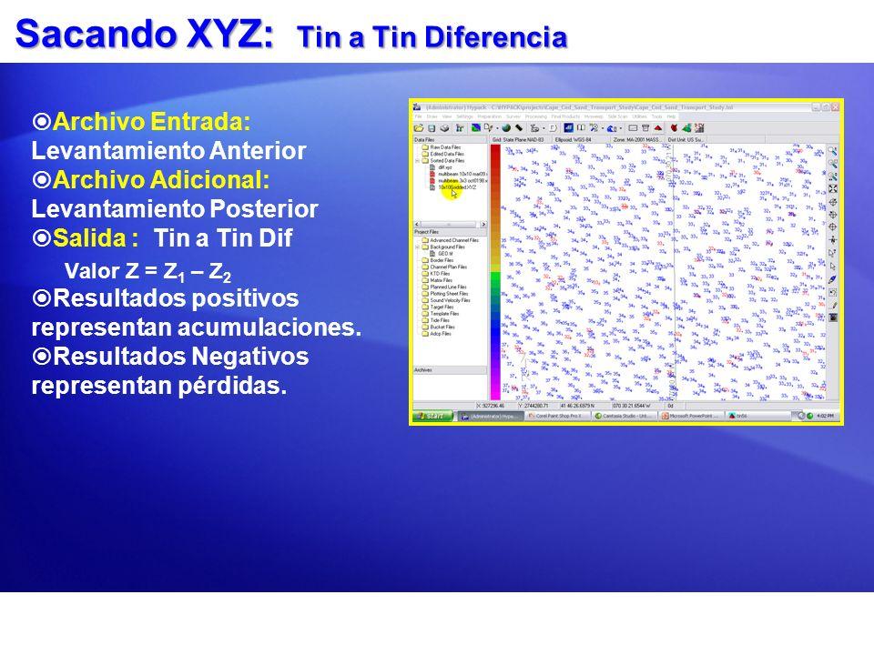 Sacando XYZ: Tin a Tin Diferencia Archivo Entrada: Levantamiento Anterior Archivo Adicional: Levantamiento Posterior Salida : Tin a Tin Dif Valor Z =