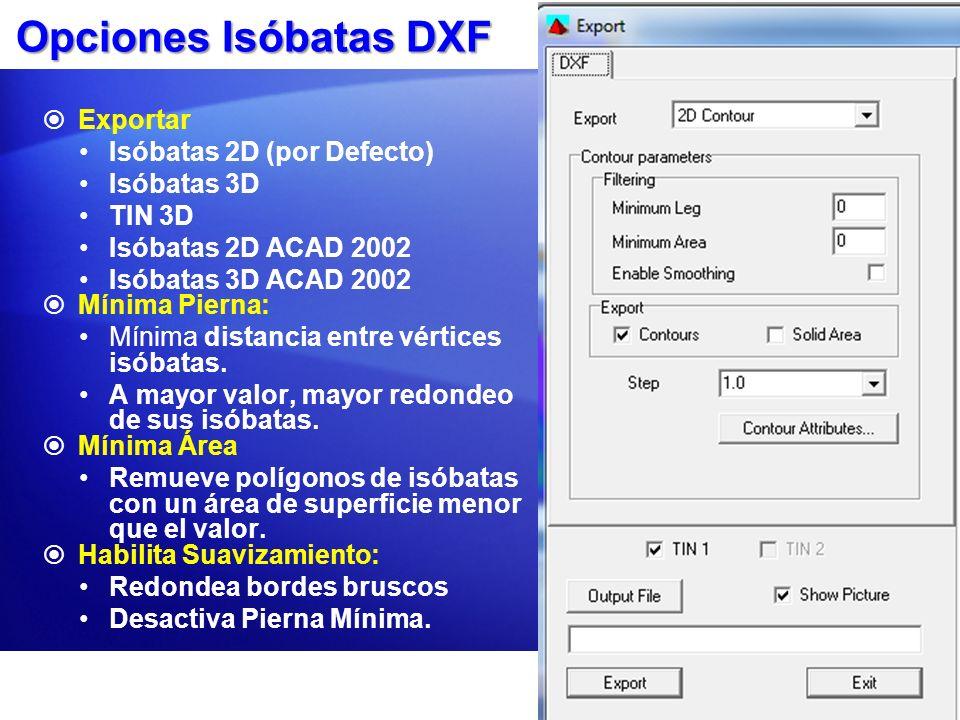 Opciones Isóbatas DXF Exportar Isóbatas 2D (por Defecto) Isóbatas 3D TIN 3D Isóbatas 2D ACAD 2002 Isóbatas 3D ACAD 2002 Mínima Pierna: Mínima distanci