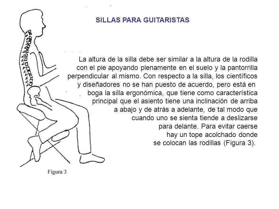 La altura de la silla debe ser similar a la altura de la rodilla con el pie apoyando plenamente en el suelo y la pantorrilla perpendicular al mismo.