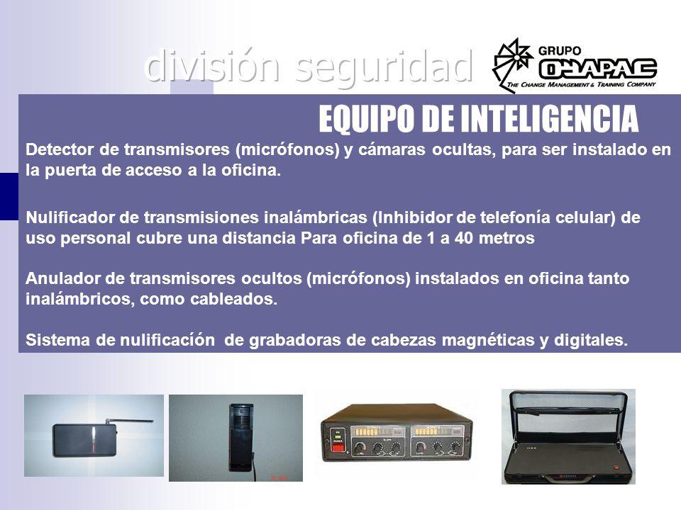 EQUIPO DE INTELIGENCIA Detector de transmisores (micrófonos) y cámaras ocultas, para ser instalado en la puerta de acceso a la oficina. Nulificador de