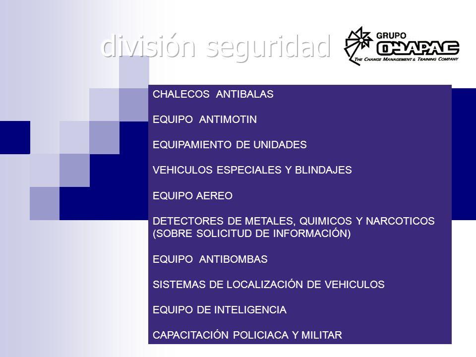CHALECOS ANTIBALAS EQUIPO ANTIMOTIN EQUIPAMIENTO DE UNIDADES VEHICULOS ESPECIALES Y BLINDAJES EQUIPO AEREO DETECTORES DE METALES, QUIMICOS Y NARCOTICO