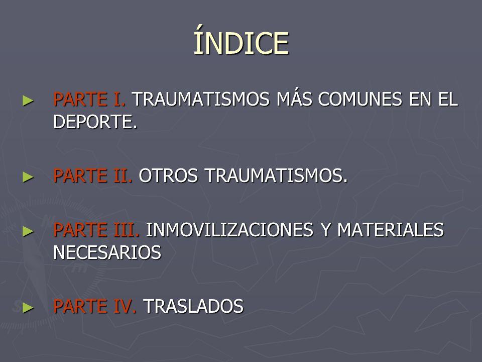 ÍNDICE PARTE I. TRAUMATISMOS MÁS COMUNES EN EL DEPORTE. PARTE I. TRAUMATISMOS MÁS COMUNES EN EL DEPORTE. PARTE II. OTROS TRAUMATISMOS. PARTE II. OTROS
