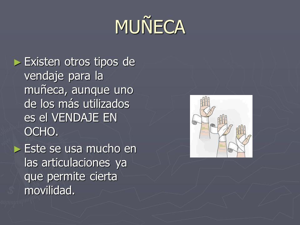 MUÑECA Existen otros tipos de vendaje para la muñeca, aunque uno de los más utilizados es el VENDAJE EN OCHO. Existen otros tipos de vendaje para la m