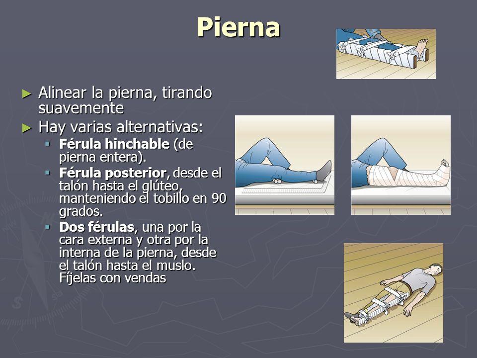 Pierna Alinear la pierna, tirando suavemente Alinear la pierna, tirando suavemente Hay varias alternativas: Hay varias alternativas: Férula hinchable