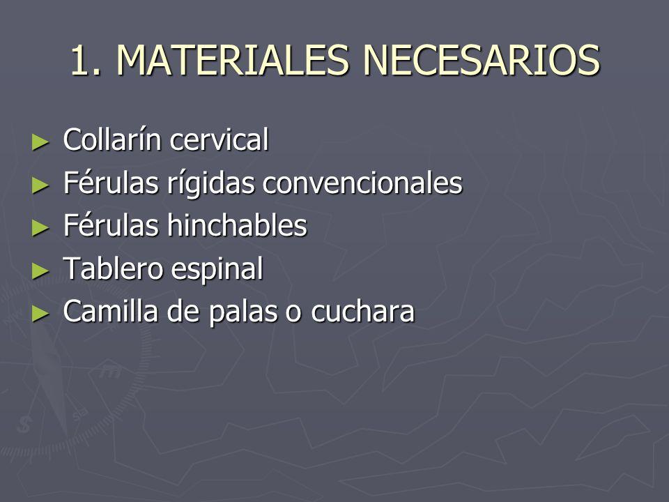 1. MATERIALES NECESARIOS Collarín cervical Collarín cervical Férulas rígidas convencionales Férulas rígidas convencionales Férulas hinchables Férulas