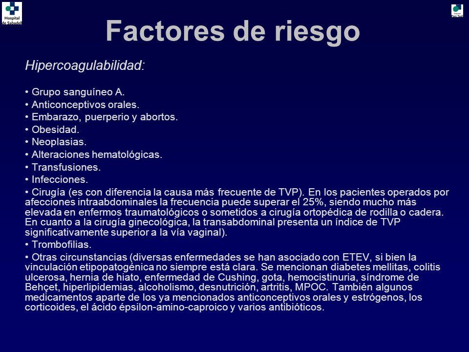 Hipercoagulabilidad: Grupo sanguíneo A. Anticonceptivos orales. Embarazo, puerperio y abortos. Obesidad. Neoplasias. Alteraciones hematológicas. Trans
