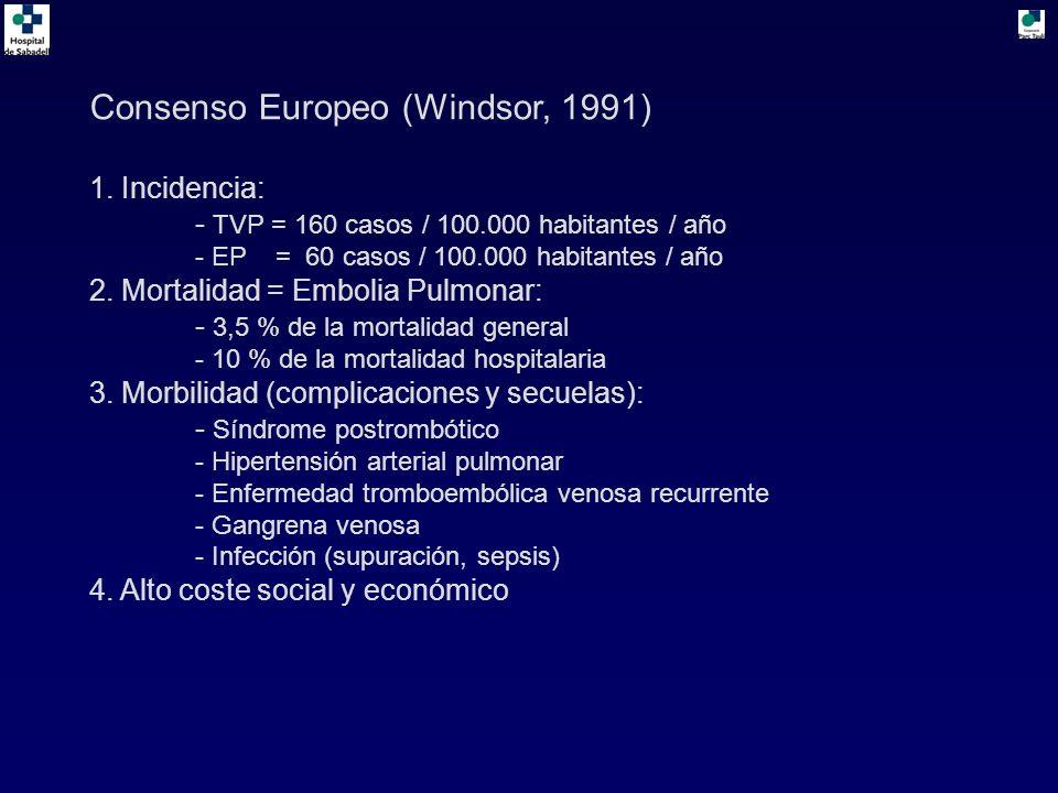Consenso Europeo (Windsor, 1991) 1. Incidencia: - TVP = 160 casos / 100.000 habitantes / año - EP = 60 casos / 100.000 habitantes / año 2. Mortalidad