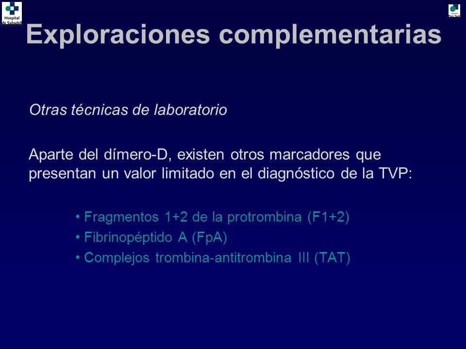 Otras técnicas de laboratorio Aparte del dímero-D, existen otros marcadores que presentan un valor limitado en el diagnóstico de la TVP: Fragmentos 1+2 de la protrombina (F1+2) Fibrinopéptido A (FpA) Complejos trombina-antitrombina III (TAT) Exploraciones complementarias