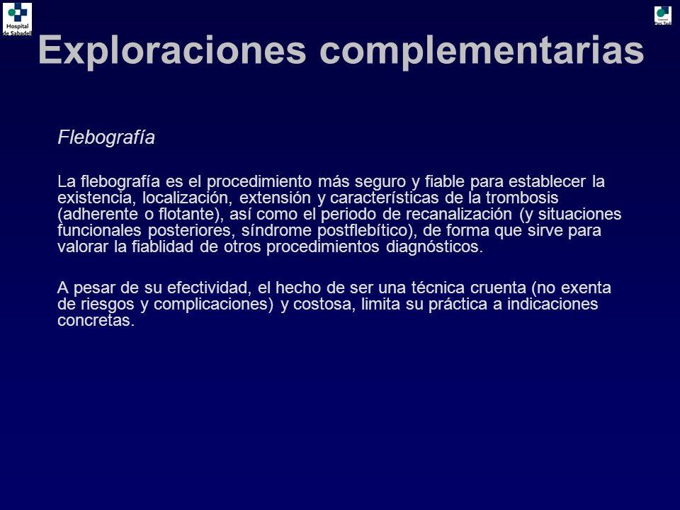 Flebografía La flebografía es el procedimiento más seguro y fiable para establecer la existencia, localización, extensión y características de la trombosis (adherente o flotante), así como el periodo de recanalización (y situaciones funcionales posteriores, síndrome postflebítico), de forma que sirve para valorar la fiablidad de otros procedimientos diagnósticos.