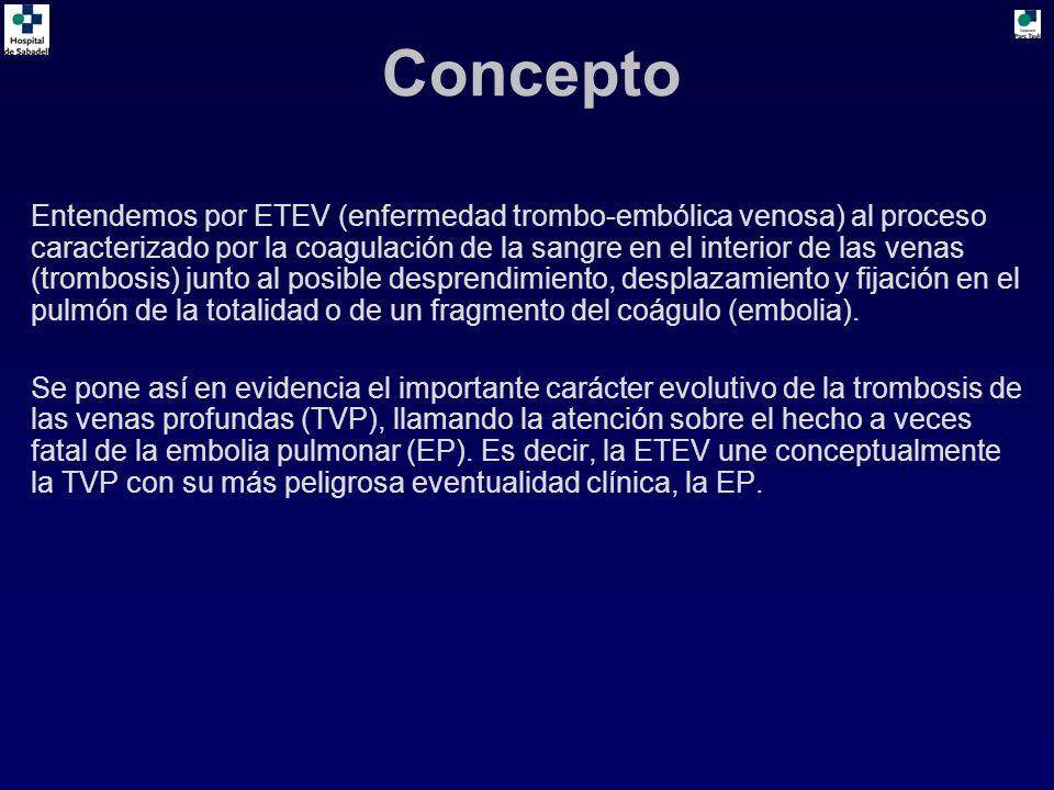 Concepto Entendemos por ETEV (enfermedad trombo-embólica venosa) al proceso caracterizado por la coagulación de la sangre en el interior de las venas (trombosis) junto al posible desprendimiento, desplazamiento y fijación en el pulmón de la totalidad o de un fragmento del coágulo (embolia).