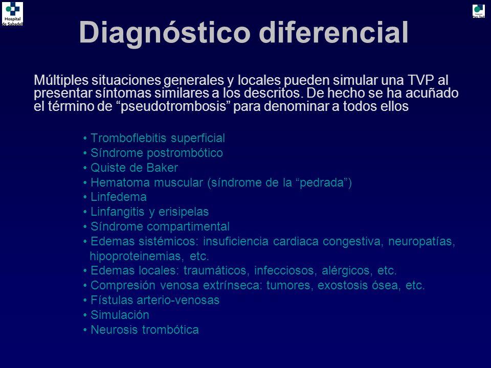 Diagnóstico diferencial Múltiples situaciones generales y locales pueden simular una TVP al presentar síntomas similares a los descritos. De hecho se