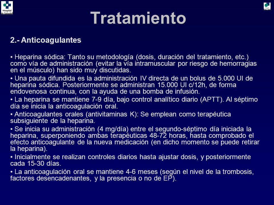 2.- Anticoagulantes Heparina sódica: Tanto su metodología (dosis, duración del tratamiento, etc.) como vía de administración (evitar la vía intramuscular por riesgo de hemorragias en el músculo) han sido muy discutidas.