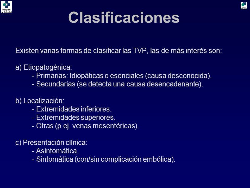 Clasificaciones Existen varias formas de clasificar las TVP, las de más interés son: a) Etiopatogénica: - Primarias: Idiopáticas o esenciales (causa desconocida).