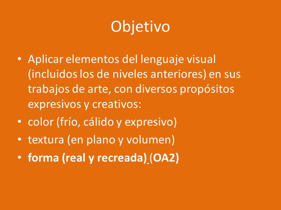 Objetivo Aplicar elementos del lenguaje visual (incluidos los de niveles anteriores) en sus trabajos de arte, con diversos propósitos expresivos y cre