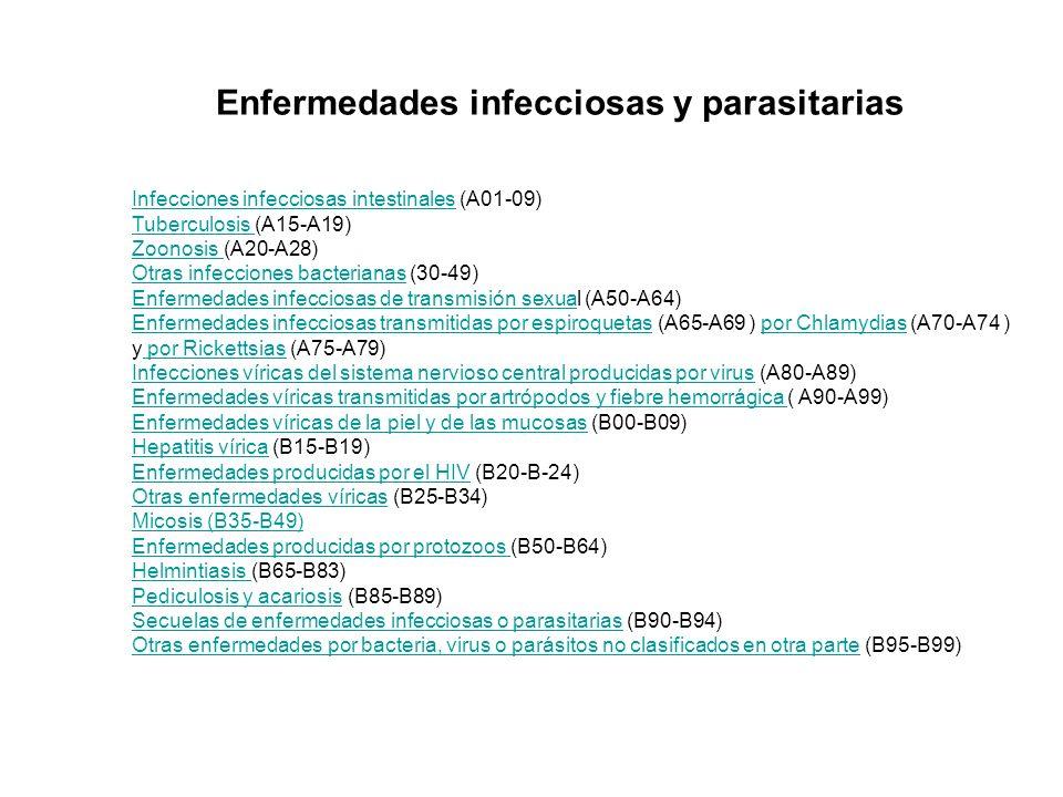 Infecciones infecciosas intestinalesInfecciones infecciosas intestinales (A01-09) Tuberculosis Tuberculosis (A15-A19) Zoonosis Zoonosis (A20-A28) Otra