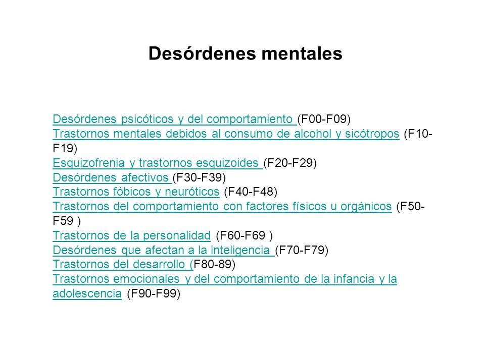 Desórdenes psicóticos y del comportamiento Desórdenes psicóticos y del comportamiento (F00-F09) Trastornos mentales debidos al consumo de alcohol y si