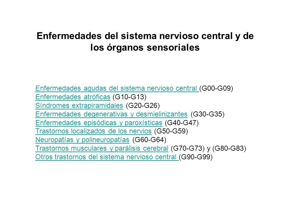 Enfermedades agudas del sistema nervioso central Enfermedades agudas del sistema nervioso central (G00-G09) Enfermedades atróficasEnfermedades atrófic
