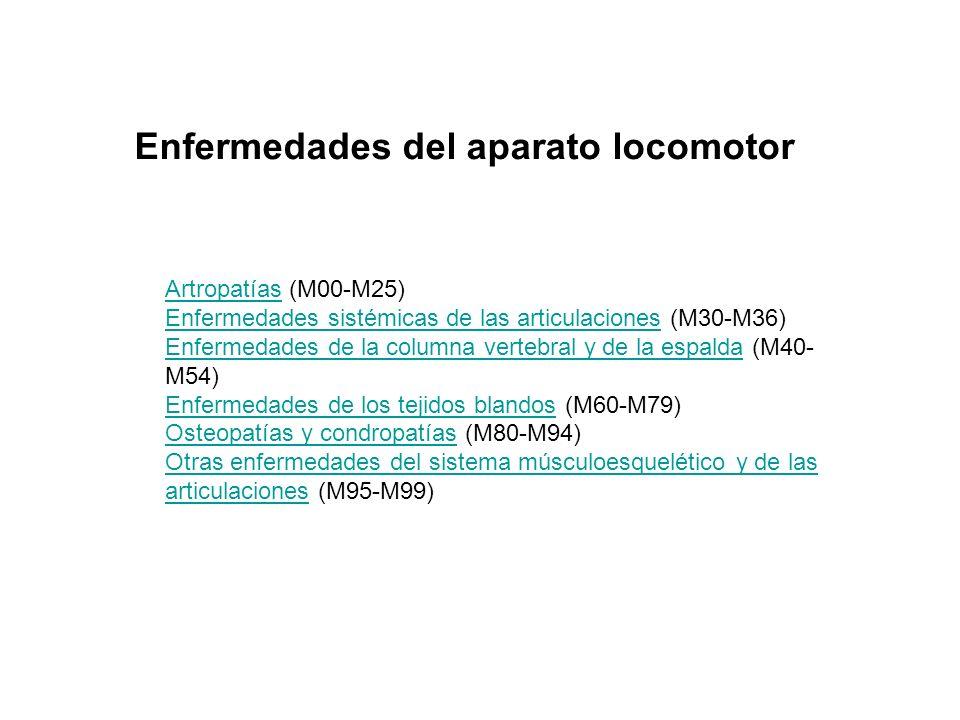 ArtropatíasArtropatías (M00-M25) Enfermedades sistémicas de las articulacionesEnfermedades sistémicas de las articulaciones (M30-M36) Enfermedades de