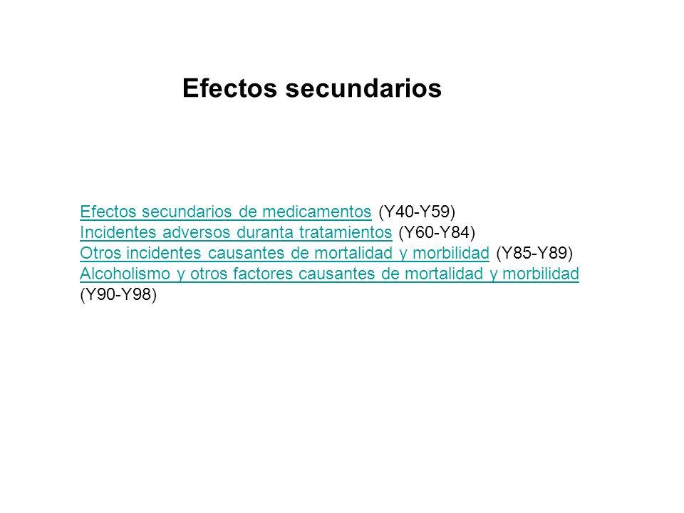 Efectos secundarios de medicamentosEfectos secundarios de medicamentos (Y40-Y59) Incidentes adversos duranta tratamientosIncidentes adversos duranta t