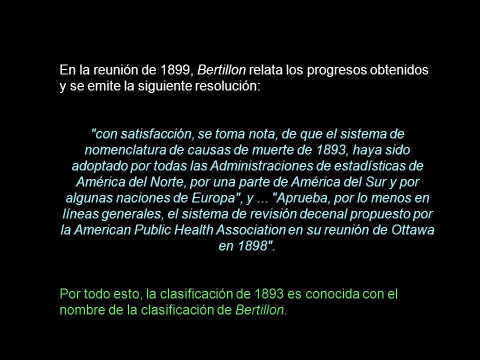 En la reunión de 1899, Bertillon relata los progresos obtenidos y se emite la siguiente resolución: