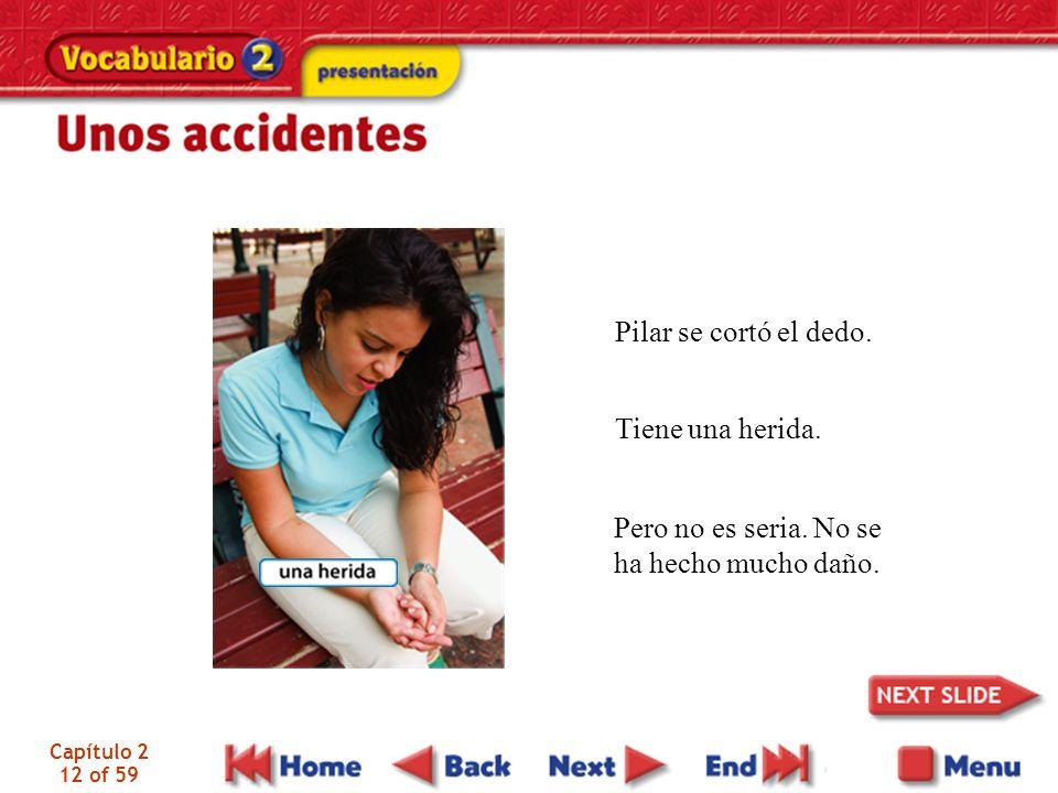 Capítulo 2 12 of 59 Pilar se cortó el dedo. Tiene una herida.