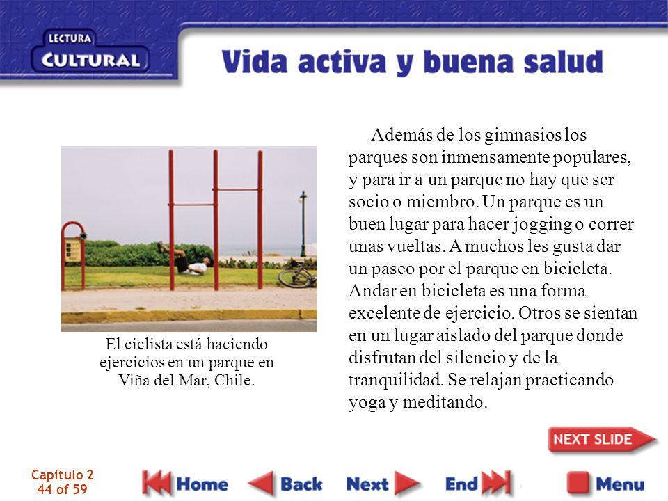 Capítulo 2 44 of 59 El ciclista está haciendo ejercicios en un parque en Viña del Mar, Chile. Además de los gimnasios los parques son inmensamente pop