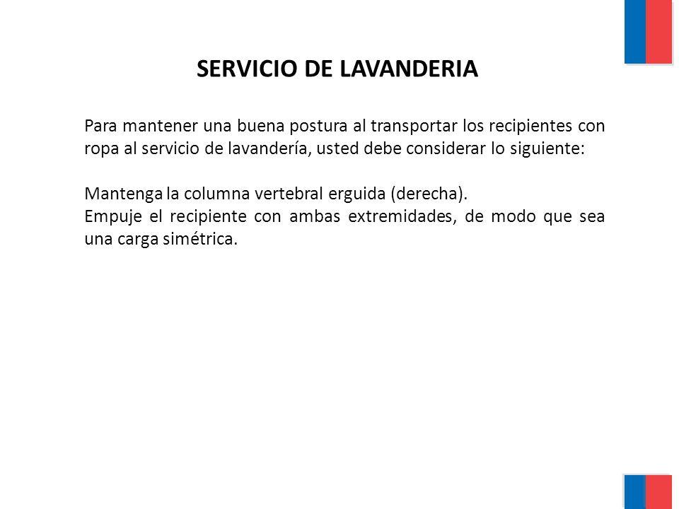 Para mantener una buena postura al transportar los recipientes con ropa al servicio de lavandería, usted debe considerar lo siguiente: Mantenga la col