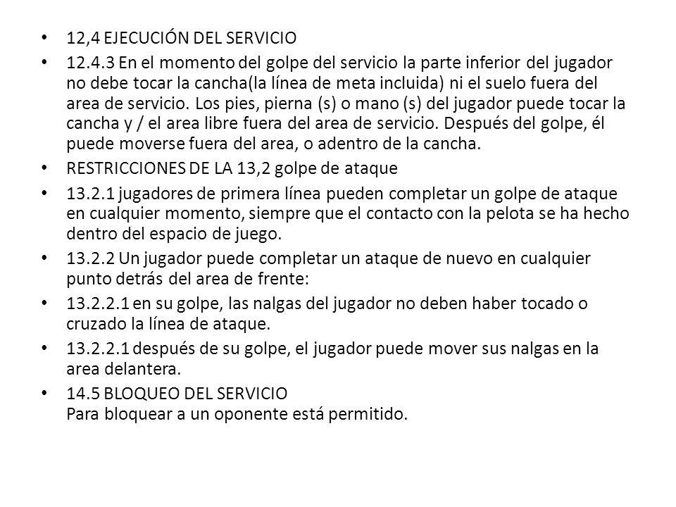 12,4 EJECUCIÓN DEL SERVICIO 12.4.3 En el momento del golpe del servicio la parte inferior del jugador no debe tocar la cancha(la línea de meta incluid