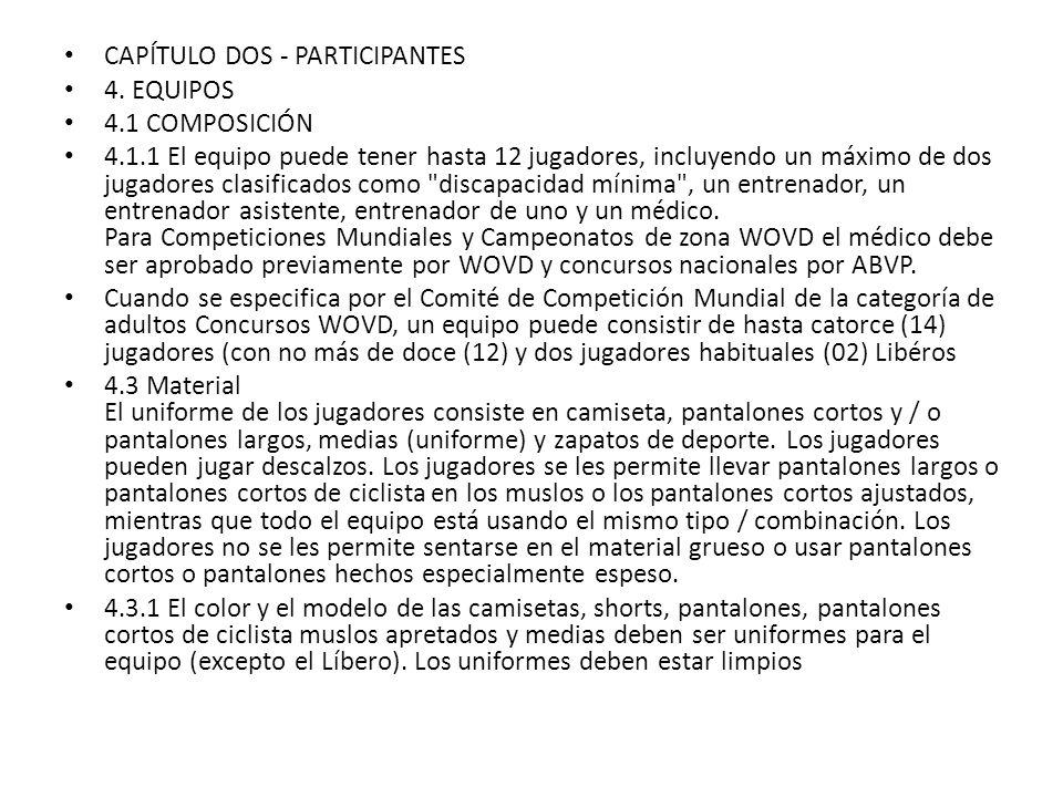 CAPÍTULO DOS - PARTICIPANTES 4. EQUIPOS 4.1 COMPOSICIÓN 4.1.1 El equipo puede tener hasta 12 jugadores, incluyendo un máximo de dos jugadores clasific