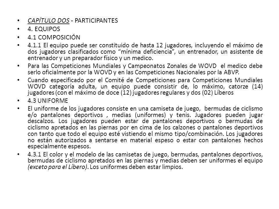 CAPÍTULO DOS - PARTICIPANTES 4. EQUIPOS 4.1 COMPOSICIÓN 4.1.1 El equipo puede ser constituido de hasta 12 jugadores, incluyendo el máximo de dos jugad