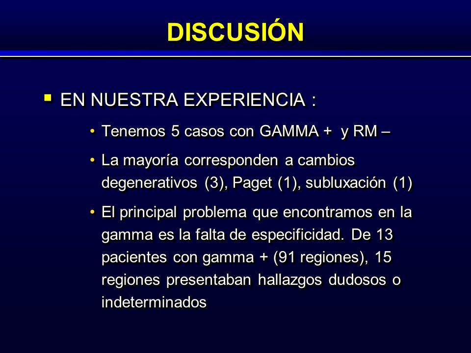 DISCUSIÓNDISCUSIÓN EN NUESTRA EXPERIENCIA : EN NUESTRA EXPERIENCIA : Tenemos 5 casos con GAMMA + y RM –Tenemos 5 casos con GAMMA + y RM – La mayoría corresponden a cambios degenerativos (3), Paget (1), subluxación (1)La mayoría corresponden a cambios degenerativos (3), Paget (1), subluxación (1) El principal problema que encontramos en la gamma es la falta de especificidad.