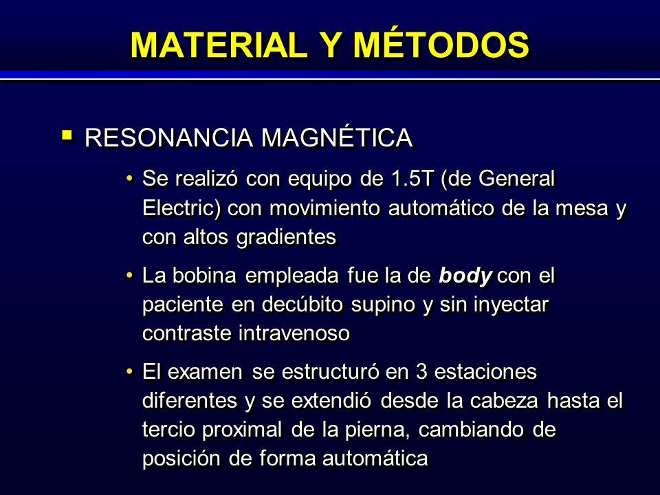 MATERIAL Y MÉTODOS RESONANCIA MAGNÉTICA RESONANCIA MAGNÉTICA Se realizó con equipo de 1.5T (de General Electric) con movimiento automático de la mesa y con altos gradientesSe realizó con equipo de 1.5T (de General Electric) con movimiento automático de la mesa y con altos gradientes La bobina empleada fue la de body con el paciente en decúbito supino y sin inyectar contraste intravenosoLa bobina empleada fue la de body con el paciente en decúbito supino y sin inyectar contraste intravenoso El examen se estructuró en 3 estaciones diferentes y se extendió desde la cabeza hasta el tercio proximal de la pierna, cambiando de posición de forma automáticaEl examen se estructuró en 3 estaciones diferentes y se extendió desde la cabeza hasta el tercio proximal de la pierna, cambiando de posición de forma automática RESONANCIA MAGNÉTICA RESONANCIA MAGNÉTICA Se realizó con equipo de 1.5T (de General Electric) con movimiento automático de la mesa y con altos gradientesSe realizó con equipo de 1.5T (de General Electric) con movimiento automático de la mesa y con altos gradientes La bobina empleada fue la de body con el paciente en decúbito supino y sin inyectar contraste intravenosoLa bobina empleada fue la de body con el paciente en decúbito supino y sin inyectar contraste intravenoso El examen se estructuró en 3 estaciones diferentes y se extendió desde la cabeza hasta el tercio proximal de la pierna, cambiando de posición de forma automáticaEl examen se estructuró en 3 estaciones diferentes y se extendió desde la cabeza hasta el tercio proximal de la pierna, cambiando de posición de forma automática
