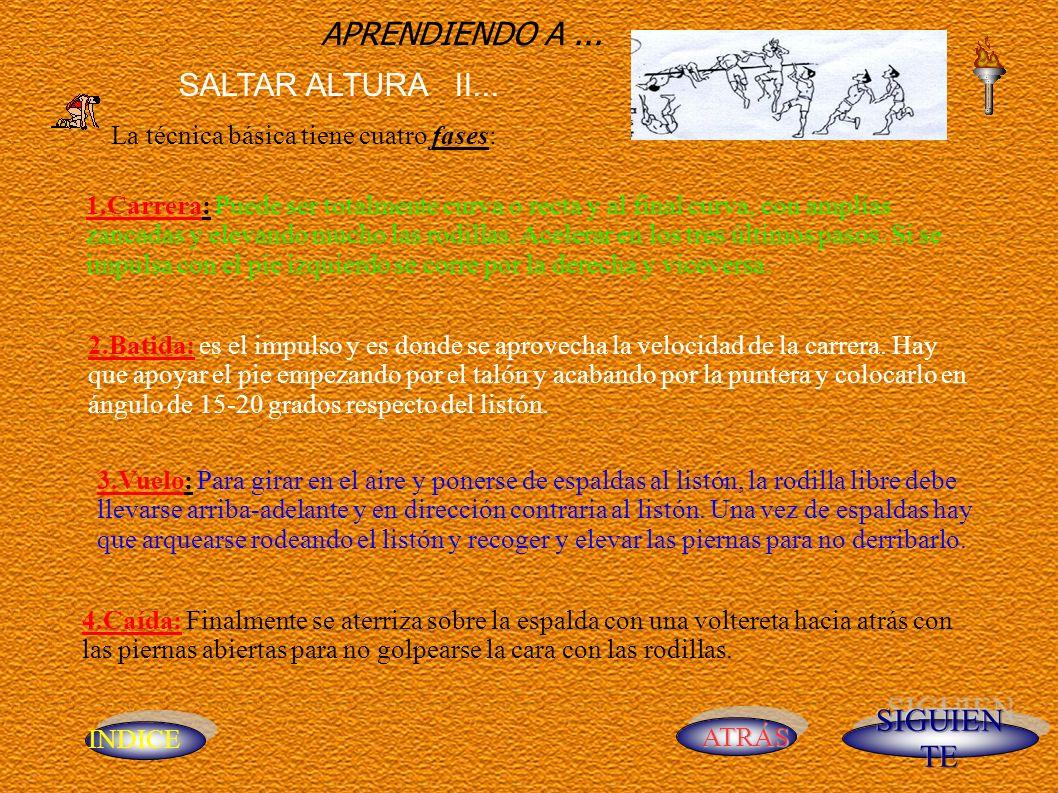 INDICE ATRÁS APRENDIENDO A... SALTAR ALTURA II... La técnica básica tiene cuatro fases: 1.Carrera: Puede ser totalmente curva o recta y al final curva