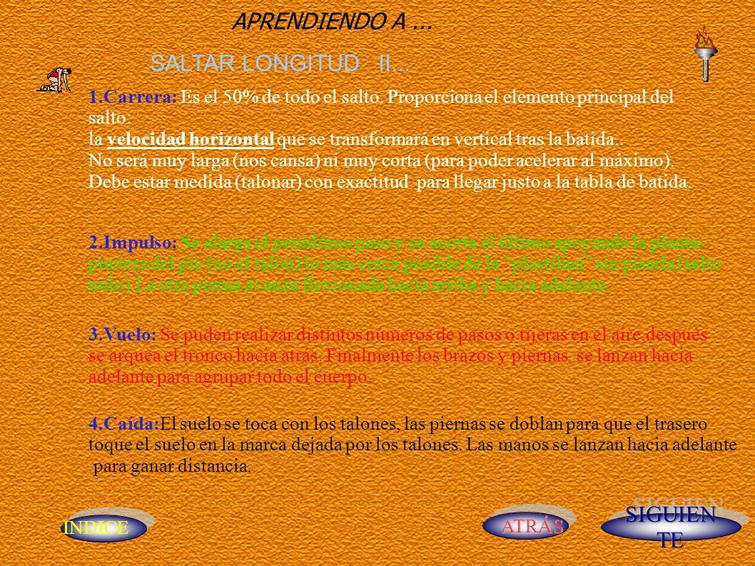 INDICE ATRÁS APRENDIENDO A... SALTAR LONGITUD II...