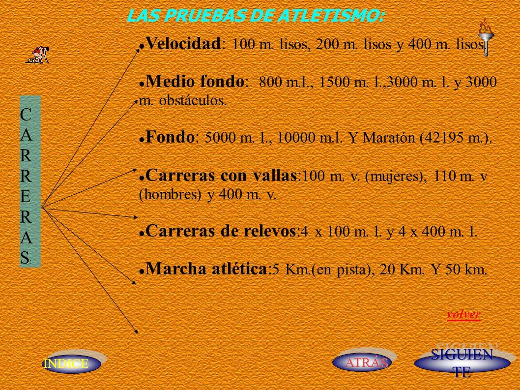 INDICE ATRÁS CARRERAS: CARRERAS: Velocidad: 100 m. lisos, 200 m. lisos y 400 m. lisos. Medio fondo: 800 m.l., 1500 m. l.,3000 m. l. y 3000 m. obstácul