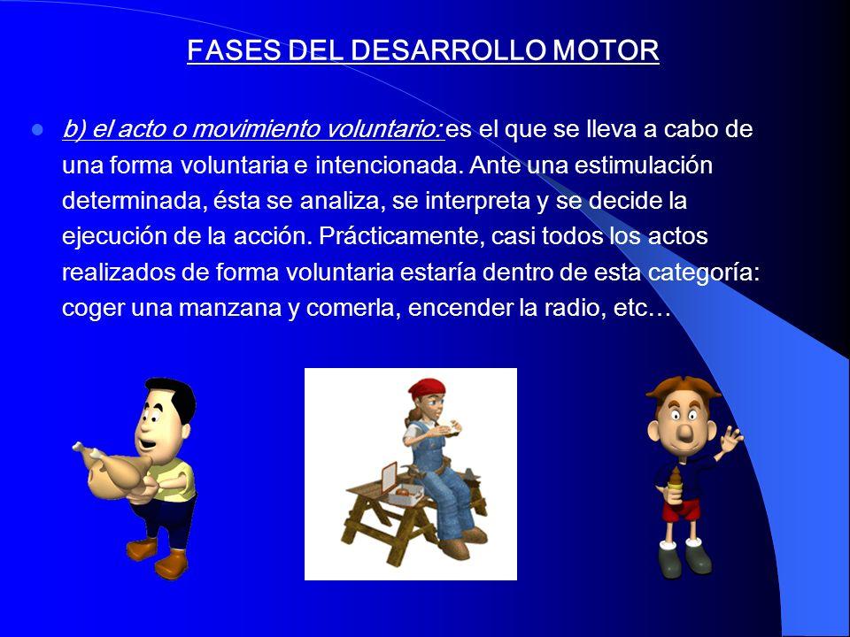 FASES DEL DESARROLLO MOTOR b) el acto o movimiento voluntario: es el que se lleva a cabo de una forma voluntaria e intencionada. Ante una estimulación