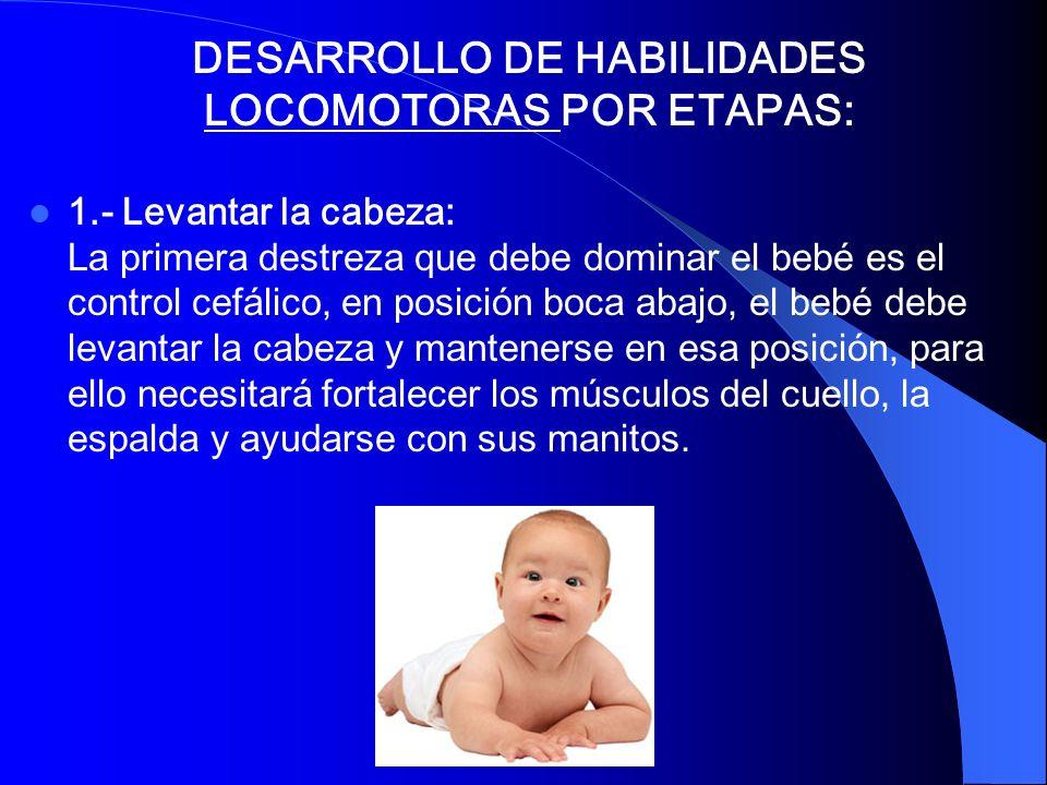 DESARROLLO DE HABILIDADES LOCOMOTORAS POR ETAPAS: 1.- Levantar la cabeza: La primera destreza que debe dominar el bebé es el control cefálico, en posi