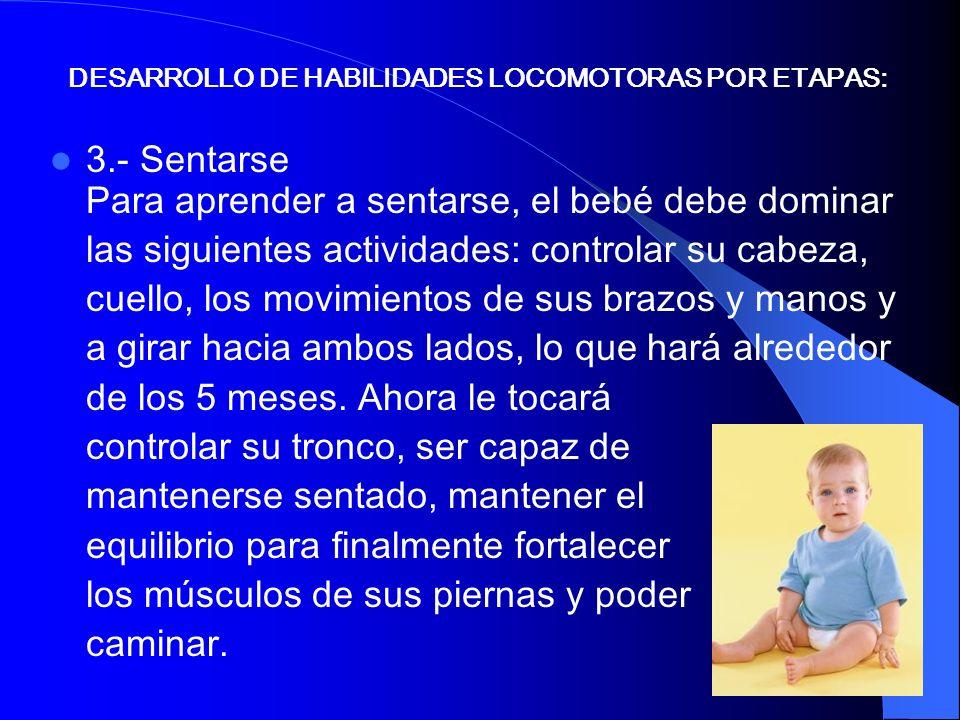 3.- Sentarse Para aprender a sentarse, el bebé debe dominar las siguientes actividades: controlar su cabeza, cuello, los movimientos de sus brazos y m