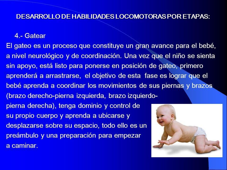 4.- Gatear El gateo es un proceso que constituye un gran avance para el bebé, a nivel neurológico y de coordinación. Una vez que el niño se sienta sin