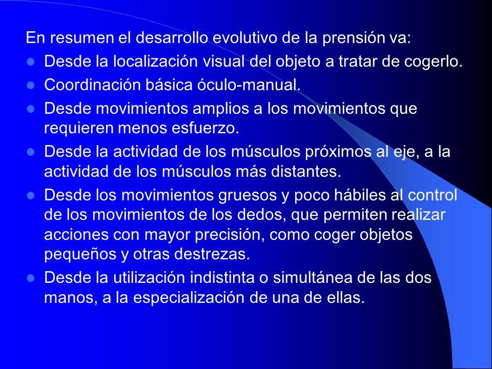 En resumen el desarrollo evolutivo de la prensión va: Desde la localización visual del objeto a tratar de cogerlo. Coordinación básica óculo-manual. D