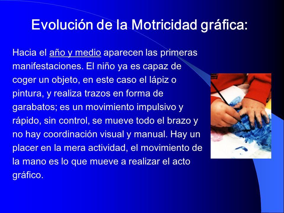 Evolución de la Motricidad gráfica: Hacia el año y medio aparecen las primeras manifestaciones. El niño ya es capaz de coger un objeto, en este caso e