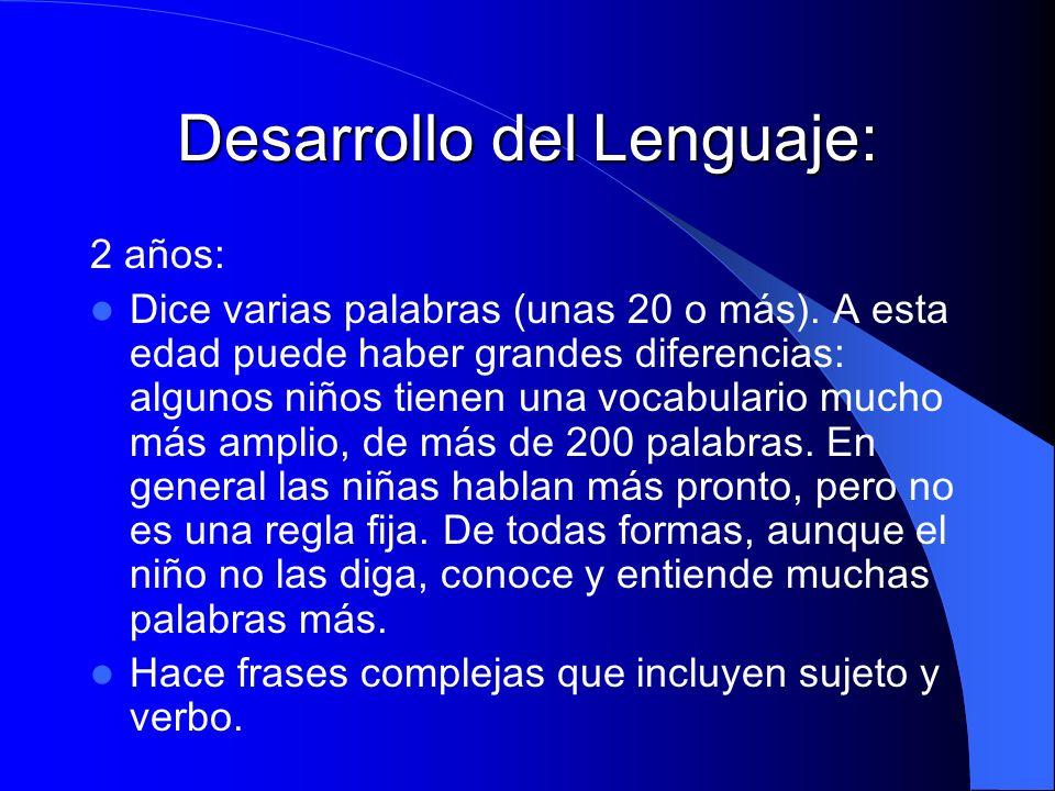 Desarrollo del Lenguaje: 2 años: Dice varias palabras (unas 20 o más). A esta edad puede haber grandes diferencias: algunos niños tienen una vocabular