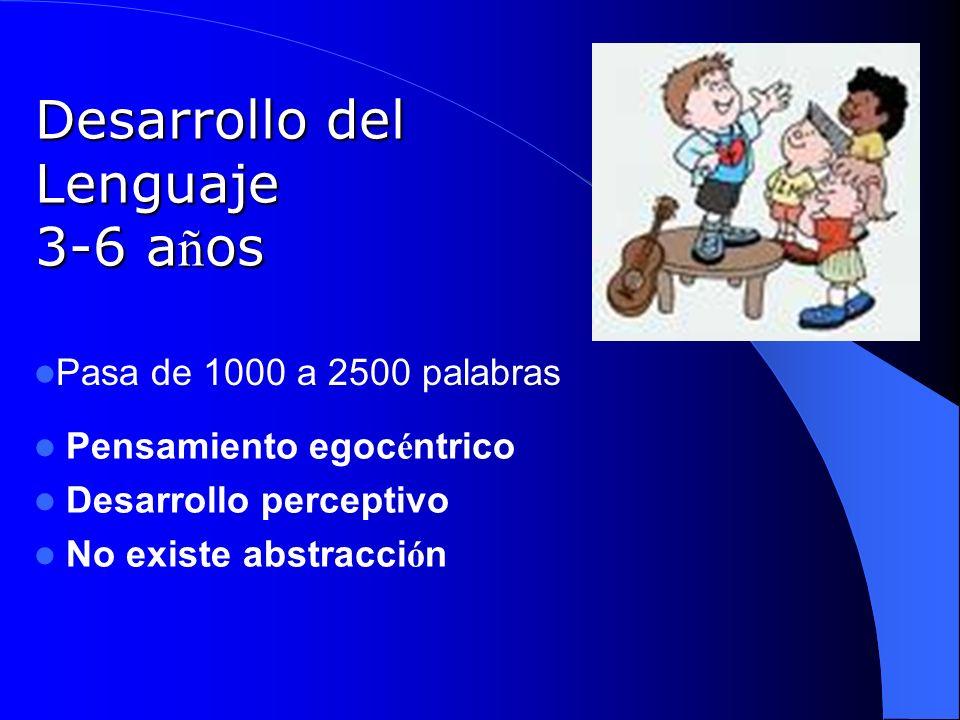 Desarrollo del Lenguaje 3-6 a ñ os Pasa de 1000 a 2500 palabras Pensamiento egoc é ntrico Desarrollo perceptivo No existe abstracci ó n