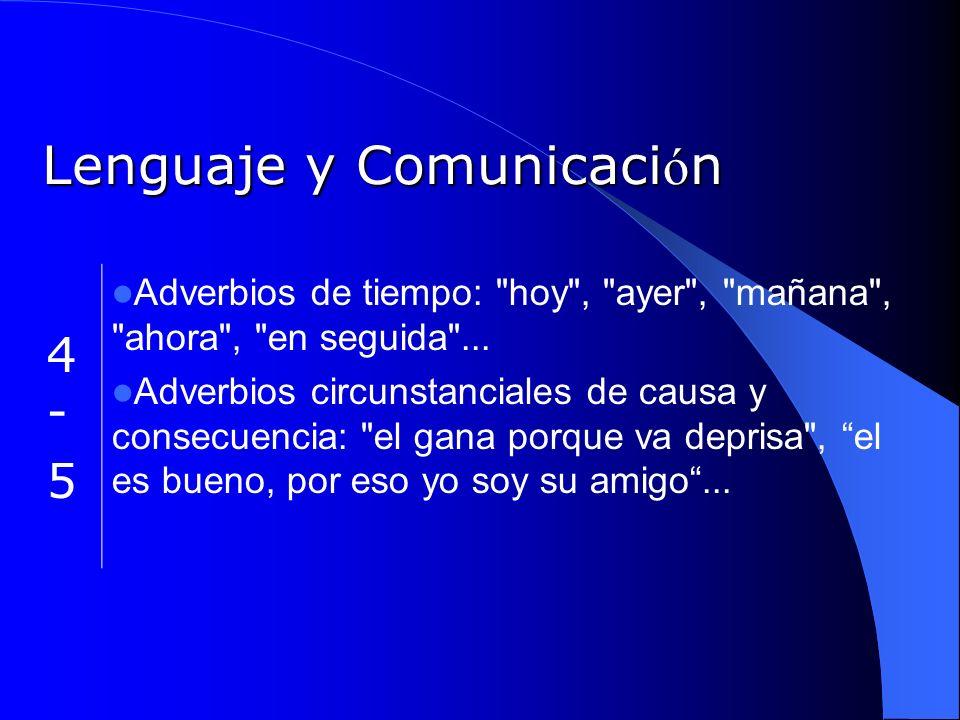 Lenguaje y Comunicaci ó n 4-54-5 Adverbios de tiempo: