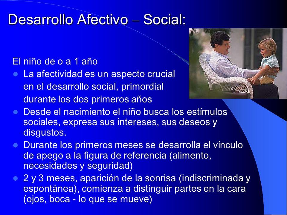 Desarrollo Afectivo – Social: El niño de o a 1 año La afectividad es un aspecto crucial en el desarrollo social, primordial durante los dos primeros a