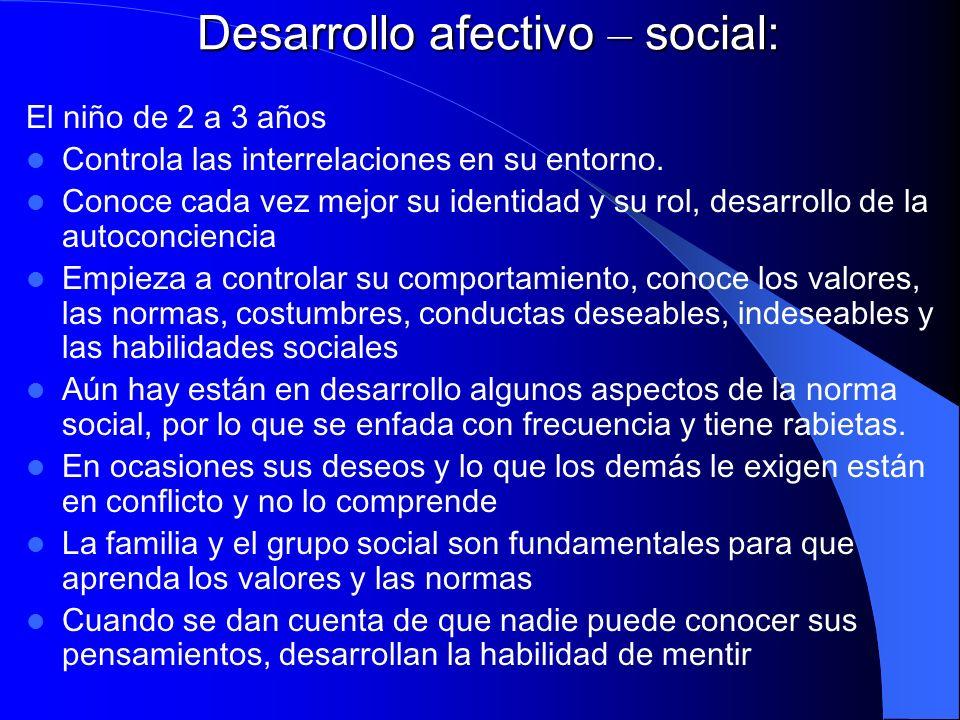Desarrollo afectivo – social: El niño de 2 a 3 años Controla las interrelaciones en su entorno. Conoce cada vez mejor su identidad y su rol, desarroll