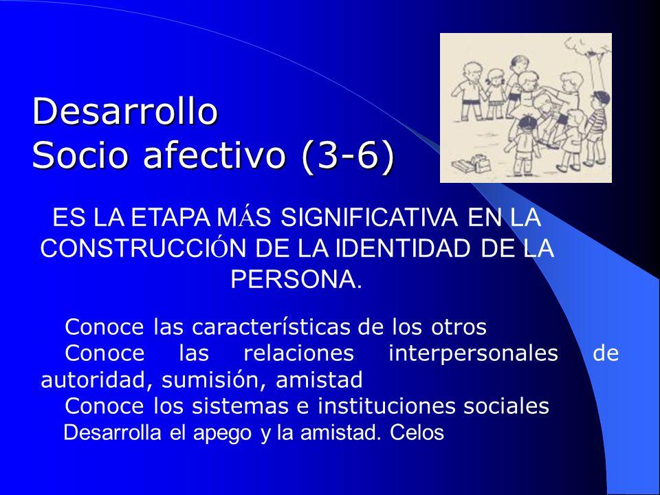 Desarrollo Socio afectivo (3-6) Conoce las características de los otros Conoce las relaciones interpersonales de autoridad, sumisión, amistad Conoce l